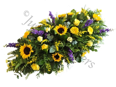 Yellows and Purples Casket Spray