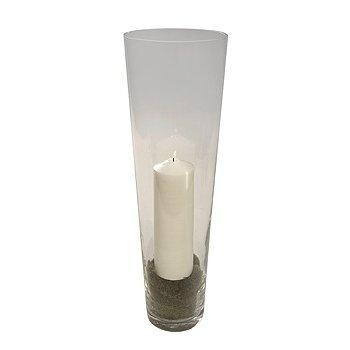 Glass Cone Vase and Candle.
