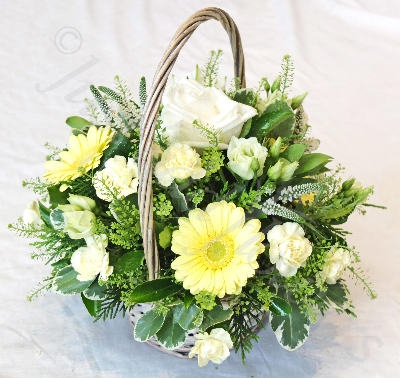 Yellow and White Basket